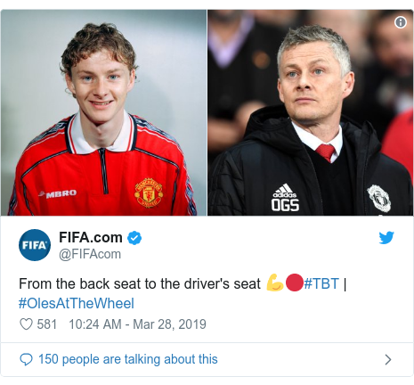 Twitter post by @FIFAcom: From the back seat to the driver's seat 💪🔴#TBT | #OlesAtTheWheel