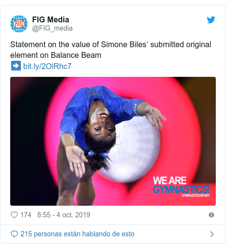Publicación de Twitter por @FIG_media: Statement on the value of Simone Biles' submitted original element on Balance Beam➡