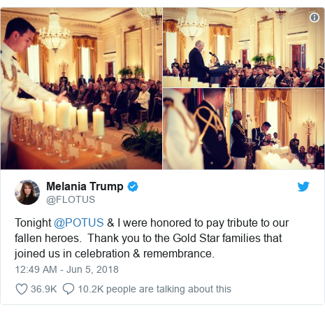 Twitter post by @FLOTUS: Tonight @POTUS & I were honored to pay tribute to our fallen heroes.  Thank you to the Gold Star families that joined us in celebration & remembrance.