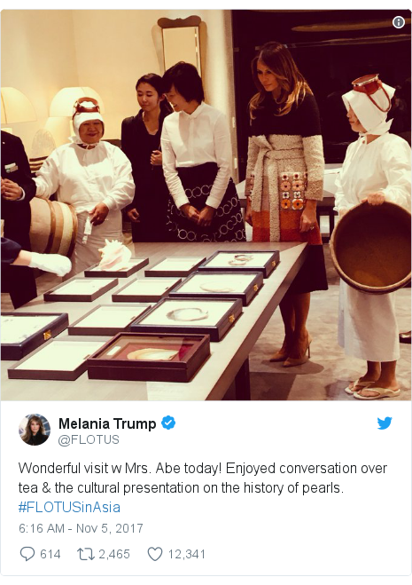 Twitter post by @FLOTUS: Wonderful visit w Mrs. Abe today! Enjoyed conversation over tea & the cultural presentation on the history of pearls. #FLOTUSinAsia