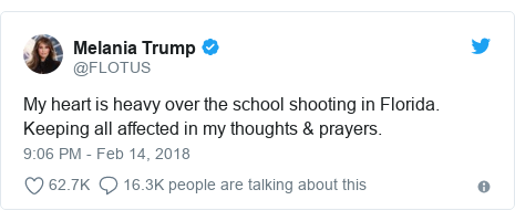 Twitter post by @FLOTUS: My heart is heavy over the school shooting in Florida. Keeping all affected in my thoughts & prayers.