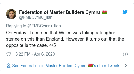 Twitter post by @FMBCymru_Ifan: On Friday, it seemed that Wales was taking a tougher stance on this than England. However, it turns out that the opposite is the case. 4/5