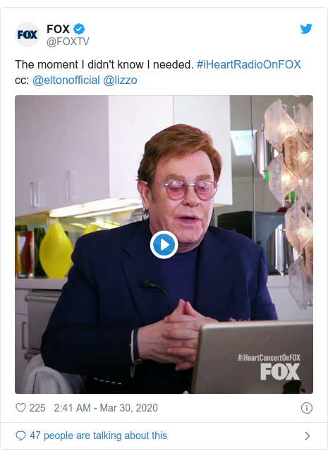 Twitter post by @FOXTV: The moment I didn't know I needed. #iHeartRadioOnFOXcc  @eltonofficial @lizzo