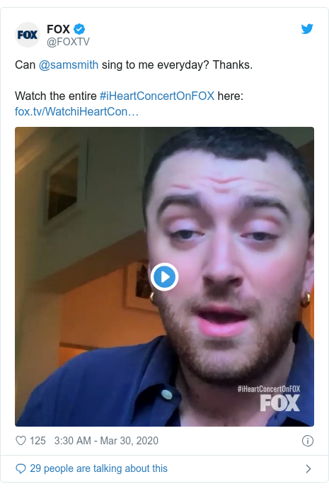 Twitter post by @FOXTV: Can @samsmith sing to me everyday? Thanks. Watch the entire #iHeartConcertOnFOX here