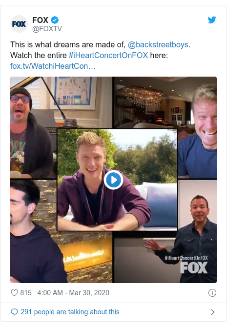 Twitter post by @FOXTV: This is what dreams are made of, @backstreetboys. Watch the entire #iHeartConcertOnFOX here