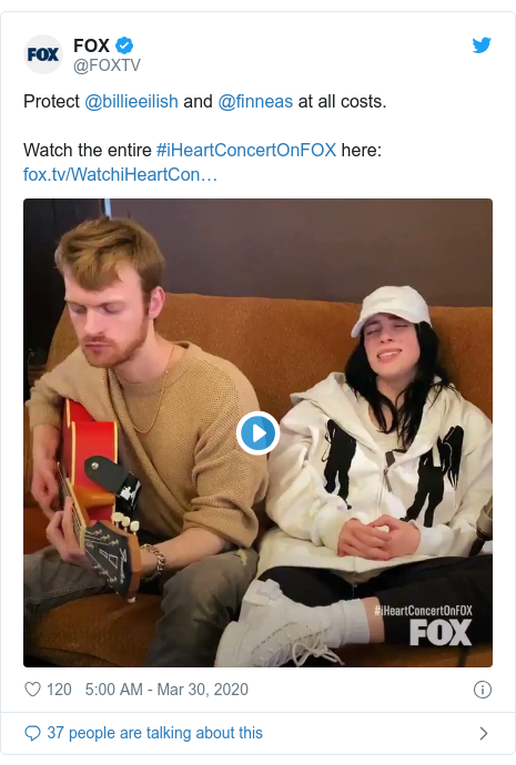 Twitter post by @FOXTV: Protect @billieeilish and @finneas at all costs. Watch the entire #iHeartConcertOnFOX here