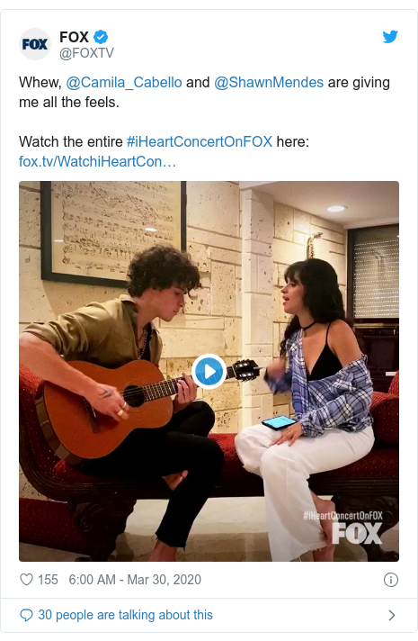 Twitter post by @FOXTV: Whew, @Camila_Cabello and @ShawnMendes are giving me all the feels.Watch the entire #iHeartConcertOnFOX here