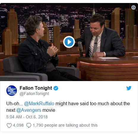 Twitter post by @FallonTonight: Uh-oh... @MarkRuffalo might have said too much about the next @Avengers movie