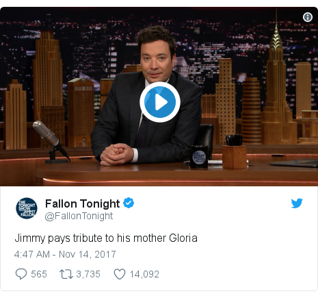 Twitter post by @FallonTonight: Jimmy pays tribute to his mother Gloria