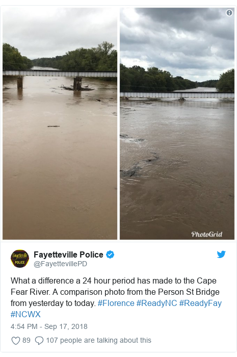 Twitter post by @FayettevillePD: What a difference a 24 hour period has made to the Cape Fear River. A comparison photo from the Person St Bridge from yesterday to today. #Florence #ReadyNC #ReadyFay #NCWX