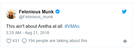 Twitter post by @Felonious_munk: This ain't about Aretha at all. #VMAs