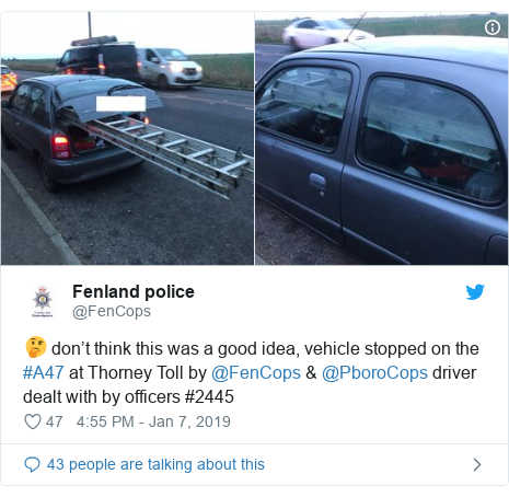 Twitter post by @FenCops: 🤔 don't think this was a good idea, vehicle stopped on the #A47 at Thorney Toll by @FenCops & @PboroCops driver dealt with by officers #2445