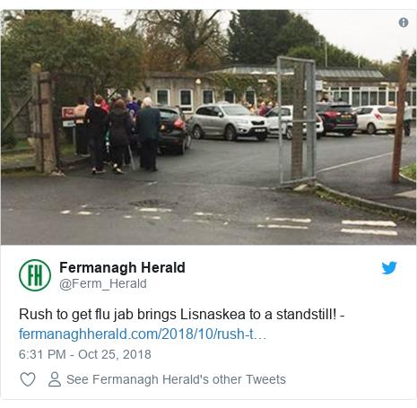 Twitter post by @Ferm_Herald: Rush to get flu jab brings Lisnaskea to a standstill! -