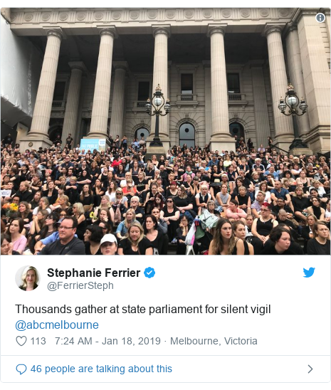 Twitter post by @FerrierSteph: Thousands gather at state parliament for silent vigil @abcmelbourne