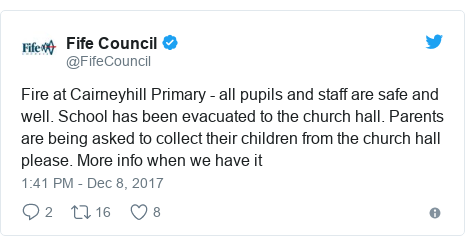 Twitter post by @FifeCouncil: Fire at Cairneyhill Primary - all pupils and staff are safe and well. School has been evacuated to the church hall. Parents are being asked to collect their children from the church hall please. More info when we have it