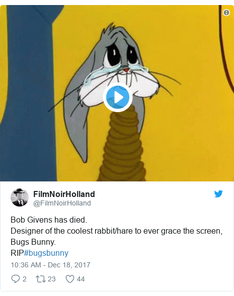 Twitter post by @FilmNoirHolland: Bob Givens has died. Designer of the coolest rabbit/hare to ever grace the screen, Bugs Bunny.RIP#bugsbunny