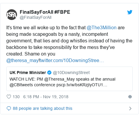 Twitter post by @FinalSayForAll: It's time we all woke up to the fact that @The3Million are being made scapegoats by a nasty, incompetent government, that lies and dog whistles instead of having the backbone to take responsibility for the mess they've created. Shame on you @theresa_may!