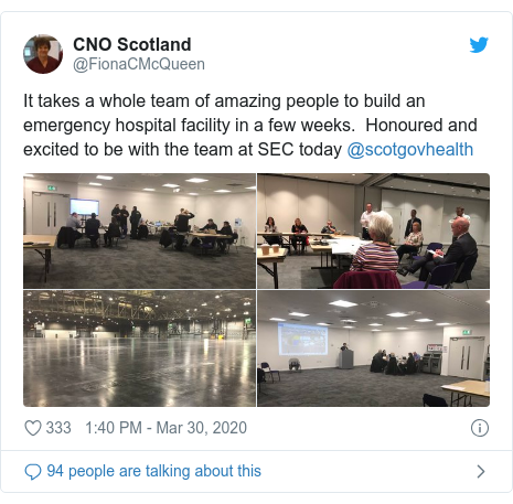 Twitter post by @FionaCMcQueen: It takes a whole team of amazing people to build an emergency hospital facility in a few weeks.  Honoured and excited to be with the team at SEC today @scotgovhealth