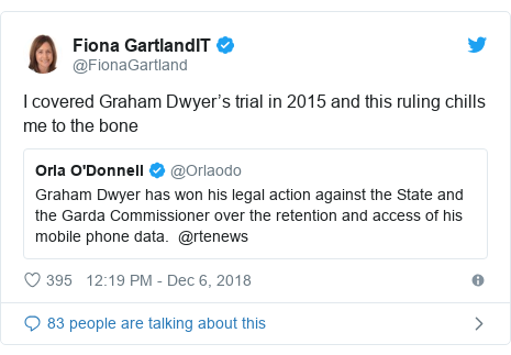 Twitter post by @FionaGartland: I covered Graham Dwyer's trial in 2015 and this ruling chills me to the bone