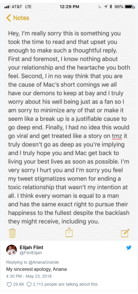 Twitter post by @FlintElijah: My sincerest apology, Ariana