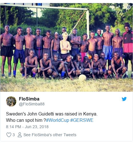 Twitter post by @FloSimba88: Sweden's John Guidetti was raised in Kenya.Who can spot him ?#WorldCup #GERSWE