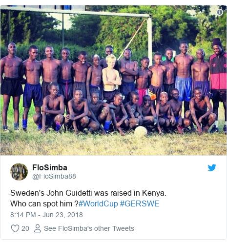 Twitter waxaa daabacay @FloSimba88: Sweden's John Guidetti was raised in Kenya.Who can spot him ?#WorldCup #GERSWE
