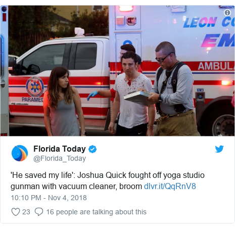 Twitter post by @Florida_Today: 'He saved my life'  Joshua Quick fought off yoga studio gunman with vacuum cleaner, broom