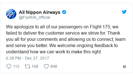Twitter post by @FlyANA_official: We apologize to all of our passengers on Flight 175; we failed to deliver the customer service we strive for. Thank you all for your comments and allowing us to connect, learn and serve you better. We welcome ongoing feedback to understand how we can work to make this right.