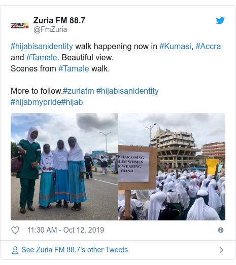 Twitter wallafa daga @FmZuria: #hijabisanidentity walk happening now in #Kumasi, #Accra and #Tamale. Beautiful view. Scenes from #Tamale walk.More to follow.#zuriafm #hijabisanidentity #hijabmypride#hijab