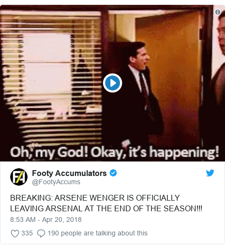 Twitter post by @FootyAccums: BREAKING  ARSENE WENGER IS OFFICIALLY LEAVING ARSENAL AT THE END OF THE SEASON!!!