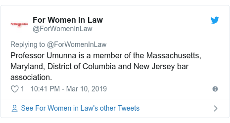 Twitter post by @ForWomenInLaw: Professor Umunna is a member of the Massachusetts, Maryland, District of Columbia and New Jersey bar association.