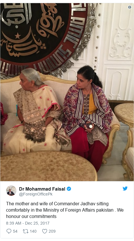 Twitter post by @ForeignOfficePk: The mother and wife of Commander Jadhav sitting comfortably in the Ministry of Foreign Affairs pakistan . We honour our commitments