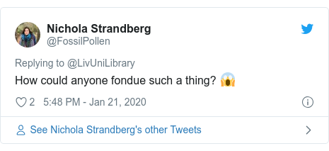 Twitter post by @FossilPollen: How could anyone fondue such a thing? 😱
