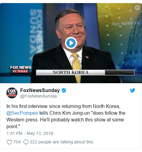 """Twitter waxaa daabacay @FoxNewsSunday: In his first interview since returning from North Korea, @SecPompeo tells Chris Kim Jong-un """"does follow the Western press. He'll probably watch this show at some point."""""""