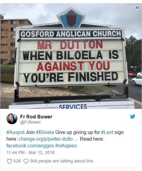 Twitter post by @FrBower: #Auspol Join #Biloela Give up giving up for #Lent sign here    Read here   #refugees