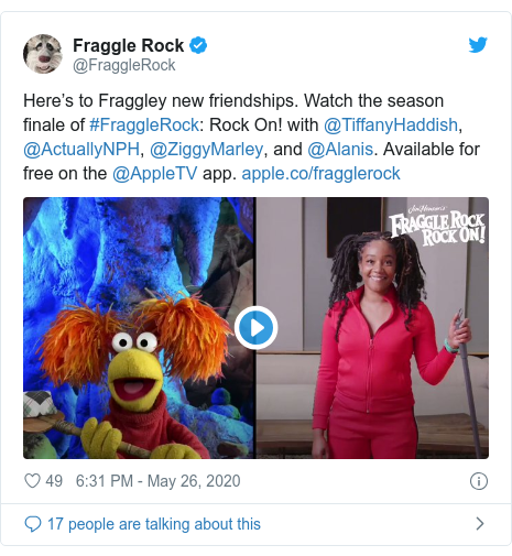 Twitter post by @FraggleRock: Here's to Fraggley new friendships. Watch the season finale of #FraggleRock  Rock On! with @TiffanyHaddish, @ActuallyNPH, @ZiggyMarley, and @Alanis. Available for free on the @AppleTV app.