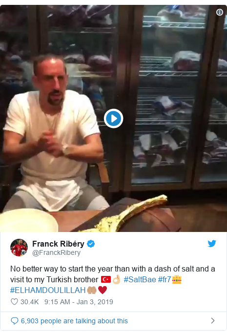 Twitter post by @FranckRibery: No better way to start the year than with a dash of salt and a visit to my Turkish brother 🇹🇷👌🏼 #SaltBae #fr7👑 #ELHAMDOULILLAH🤲🏽♥️