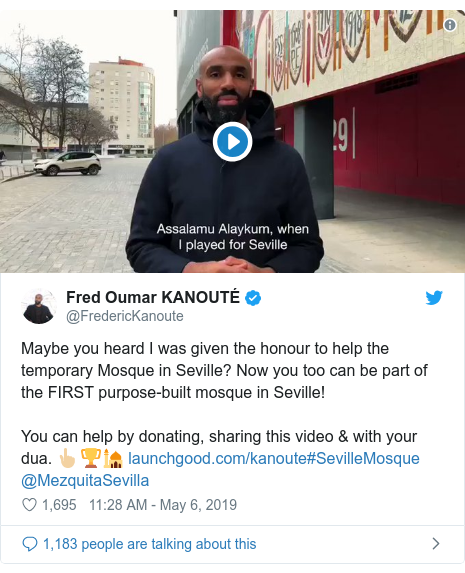 Twitter wallafa daga @FredericKanoute: Maybe you heard I was given the honour to help the temporary Mosque in Seville? Now you too can be part of the FIRST purpose-built mosque in Seville!You can help by donating, sharing this video & with your dua. 👆🏼🏆🕌 #SevilleMosque @MezquitaSevilla