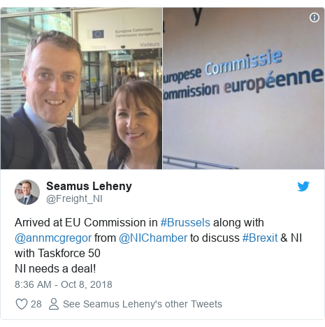 Twitter post by @Freight_NI: Arrived at EU Commission in #Brussels along with @annmcgregor from @NIChamber to discuss #Brexit & NI with Taskforce 50NI needs a deal!