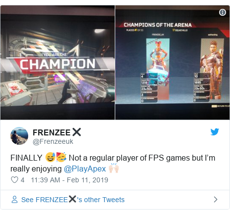 Twitter post by @Frenzeeuk: FINALLY 😅🥳 Not a regular player of FPS games but I'm really enjoying @PlayApex 🙌🏻