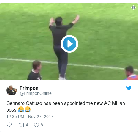 Twitter post by @FrimponOnline: Gennaro Gattuso has been appointed the new AC Milian boss 😂😂