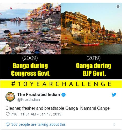 Twitter post by @FrustIndian: Cleaner, fresher and breathable Ganga- Namami Gange