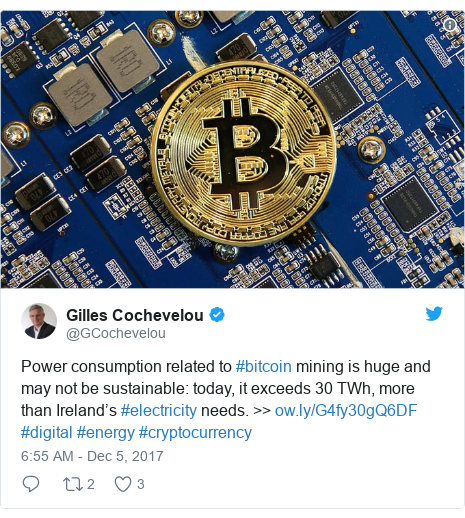 Twitter post by @GCochevelou: Power consumption related to #bitcoin mining is huge and may not be sustainable  today, it exceeds 30 TWh, more than Ireland's #electricity needs. >>  #digital #energy #cryptocurrency