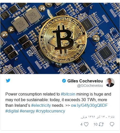 پست توییتر از @GCochevelou: Power consumption related to #bitcoin mining is huge and may not be sustainable  today, it exceeds 30 TWh, more than Ireland's #electricity needs. >>  #digital #energy #cryptocurrency