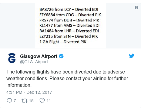 Twitter post by @GLA_Airport: The following flights have been diverted due to adverse weather conditions. Please contact your airline for further information.