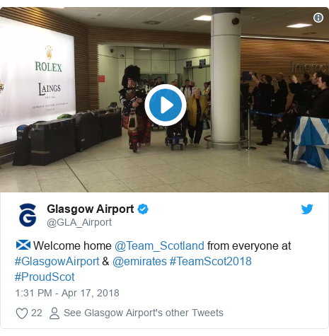 Twitter post by @GLA_Airport: 🏴 Welcome home @Team_Scotland from everyone at #GlasgowAirport & @emirates #TeamScot2018 #ProudScot