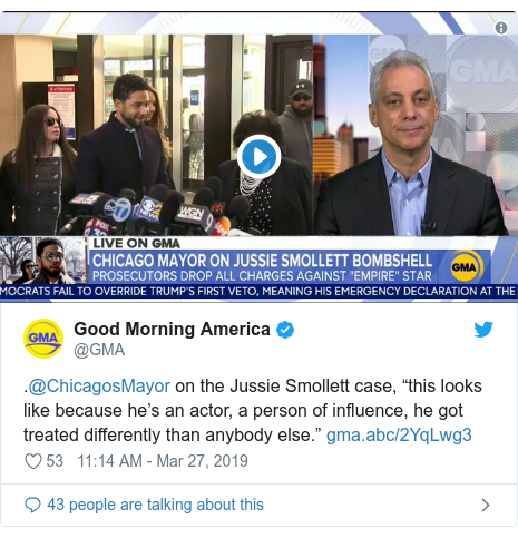 "Twitter post by @GMA: .@ChicagosMayor on the Jussie Smollett case, ""this looks like because he's an actor, a person of influence, he got treated differently than anybody else."""