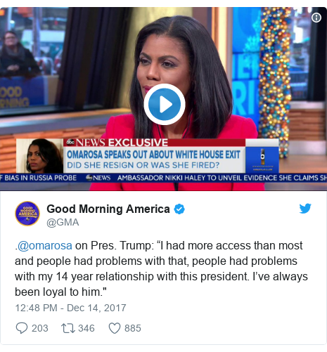"Twitter post by @GMA: .@omarosa on Pres. Trump  ""I had more access than most and people had problems with that, people had problems with my 14 year relationship with this president. I've always been loyal to him."""