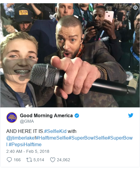 Twitter post by @GMA: AND HERE IT IS.#SelfieKid with @jtimberlake!#HalftimeSelfie#SuperBowlSelfie#SuperBowl #PepsiHalftime