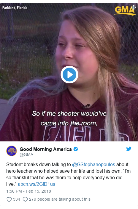 "Twitter post by @GMA: Student breaks down talking to @GStephanopoulos about hero teacher who helped save her life and lost his own. ""I'm so thankful that he was there to help everybody who did live."""